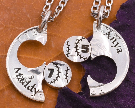 Couples and Best Friends Baseball Necklaces, Custom Engraved Names and Jersey Number, Boyfriend and Girlfriend Sports Jewelry