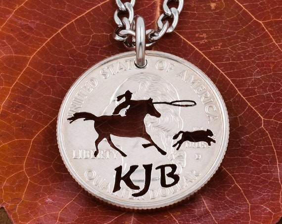 Calf Roper Necklace with Custom Initials, Farm Animals, Animal Jewelry, Hand Cut Coin