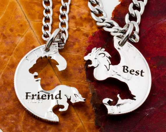 Bull and Lion Best Friends Necklaces, Relationship Jewelry, Engraved Animal Jewelry, Hand Cut Coin