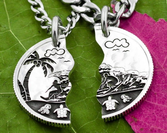 Surfers Split Love Necklaces, Engraved Artistic Beach Scene with Turtles Palm Trees and Clouds, Hammered Silver Coin, Couples Jewelry