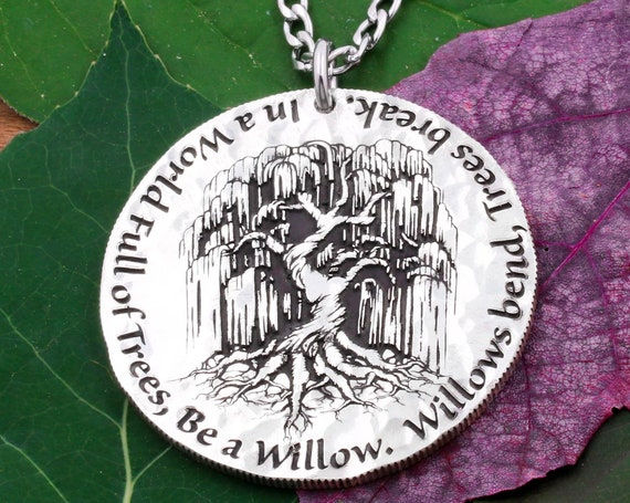 Silver Weeping Willow Tree Necklace, Encircled Quote, Hammered and Engraved Silver Pendant, US Coin