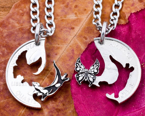 Otter and Butterfly Couples or Best Friends Necklaces, Monarch, Engraved Interlocking Animals, Hand Cut Coin