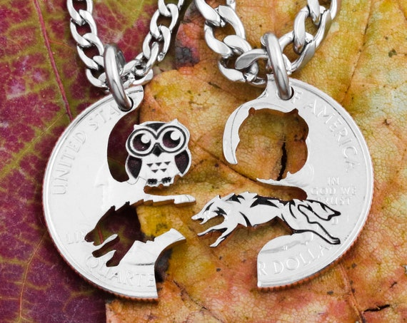 Wolf and Owl Couples or Friendship Necklaces, Best Friends and BFF Gifts, Hand Cut and Engraved Coin