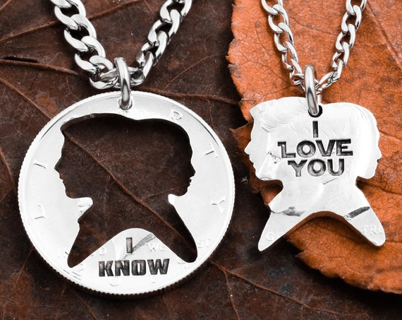"Love Coins for Couples ""I Love You"" , ""I Know"" Engraved, BFF or Couples Gift, Relationship Set, Hand Cut Coin"