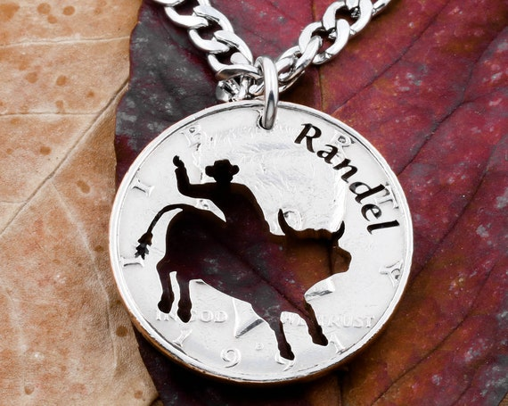 Bull Rider Necklace with Custom Engraved Name, Western Cowboy Jewelry, Half Dollar, Hand Cut Coin