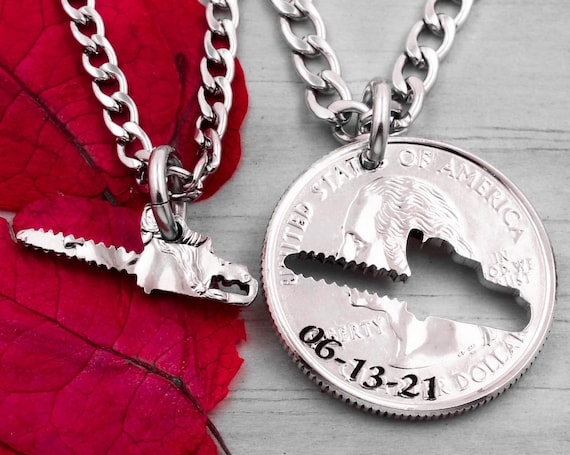 Lumberjack Chainsaw, Custom Engraved Date, Logger Husband and Wife, BFF Coin Gift, Woodsman Couples Jewelry, Hand Cut Coin