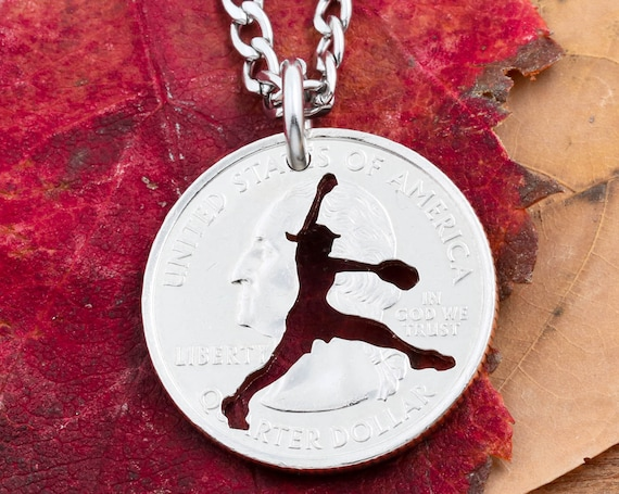 Baseball Fastpitch Necklace Women's and Girls Sports Jewelry Apparel, Softball, Hand Cut Coin Necklace