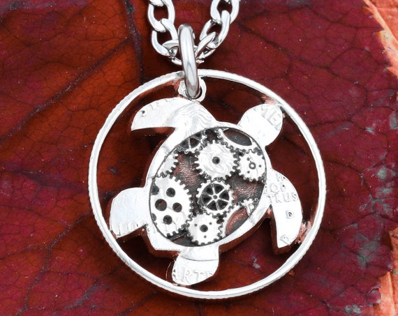 Steampunk Turtle Rimmed Coin Necklace, Gears and Sea Turtle Engraved on a Coin