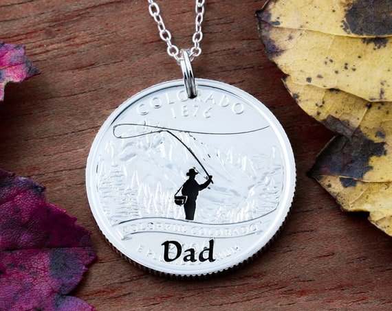 Dad Fly Fishing Necklace, Fisherman Sate Coin Gift, Hand Cut Coin