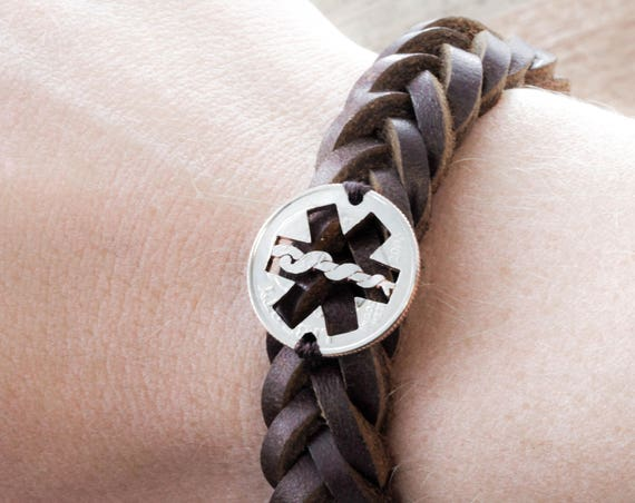 Star of Life Leather Bracelet, Nurse or Doctor Bracelet, Medical Symbol, EMT First Responder, Hand Sewn, Hand Cut Coin By Namecoins
