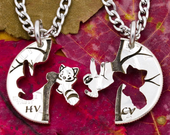 Sloth and Red Panda Friendship Necklaces with Custom Initials, Hanging Sloth and Panda in Tree, BFF, Best Friend Gift, Hand Cut Coin