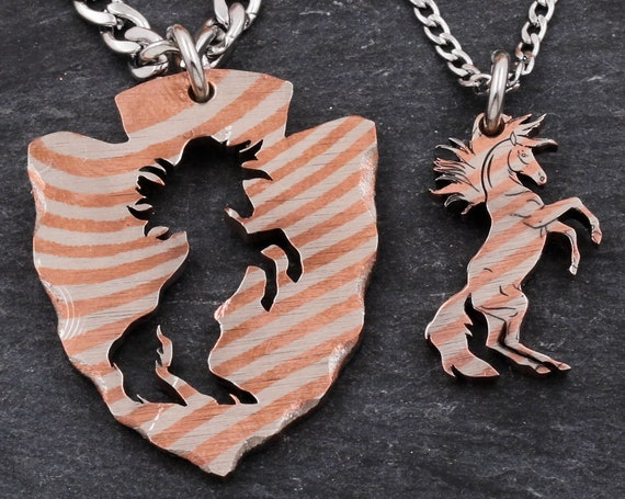 Silver and Copper Mokume-Gane Horse Arrowhead Necklaces, Inside and Outside Horses BFF Design, Wood Appearance, Hand Cut Jewelry