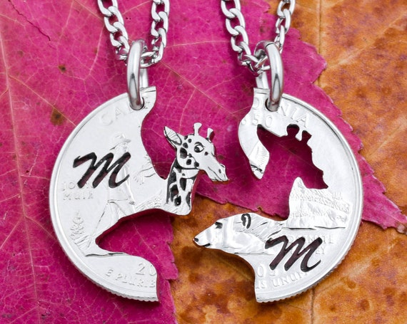 Engraved Giraffe and Polar Bear Necklaces, Engraved Initials, Best Friend or Couples Gifts, Long Distance Animal Jewelry, Hand Cut Coin