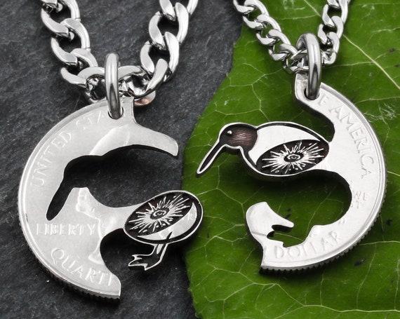 Split Kiwi Bird Couples or BFF Necklaces, New Zealand Native Island Bird, Kiwi Fruit, Interlocking Engraved Animal Jewelry, Hand Cut Coin