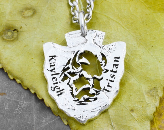 Buffalo Arrowhead Necklace with Custom Engraved Couples Names, Bison Native American Jewelry, Wyoming, Hand Cut US Coin