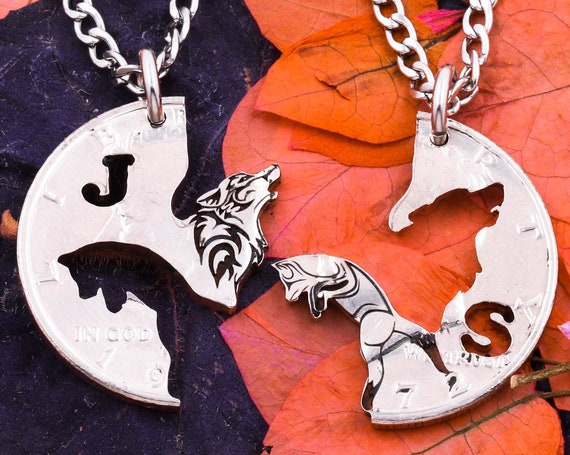 Howling Wolf, Prancing Fox Necklaces, Custom Initials, Engraved Animal Jewelry, Best Friends or Couples Gift, Hand Cut Coin