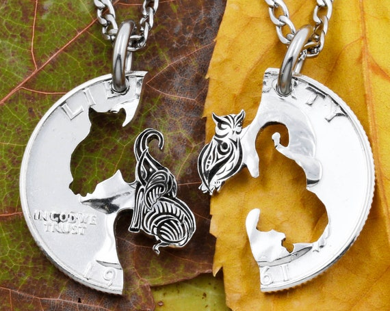 Engraved Elephant and Owl Necklaces, Friendship Gifts, Animal Jewelry Set, Hand Cut and Engraved Coin
