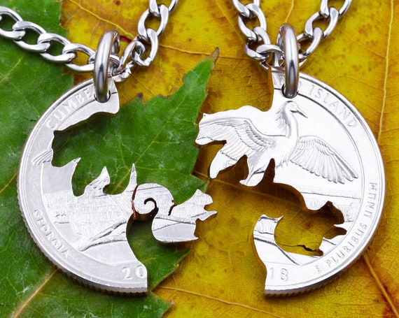 Squirrel and Bear Necklaces, BFF and Couples Gifts, Cut on Quarter's Tail Side, Animal Jewelry, Interlocking Hand Cut Coin