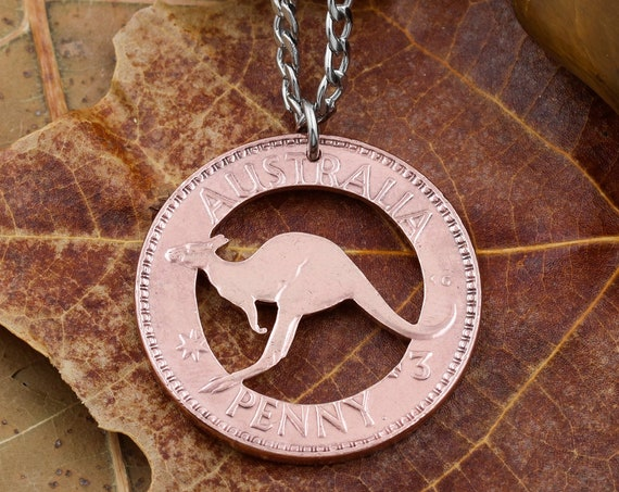 Australia Penny Kangaroo Necklace, Copper Coin, Limited Quantity Item, Special Price, Hand Cut Coin