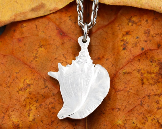 Bahamas Conch Shell Necklace, One Dollar, Real Silver Coin, Limited Quantity Available, Hand Cut Coin