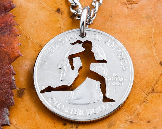 Running Girl Necklace, Track and Field Woman's Jewelry, Sports Gifts for Her, Hand Cut Coin