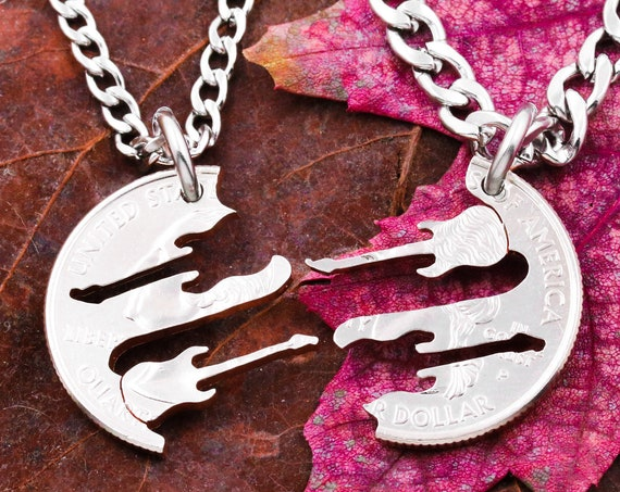 Guitar Best Friend Necklaces, BFF Gifts Band Friendship Jewelry, Musical Hand Cut Coin