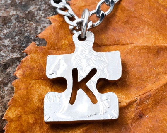 Autism Puzzle Necklace with Custom Initial, Family Necklace, Autism Awareness Gift, Hand Cut Coin