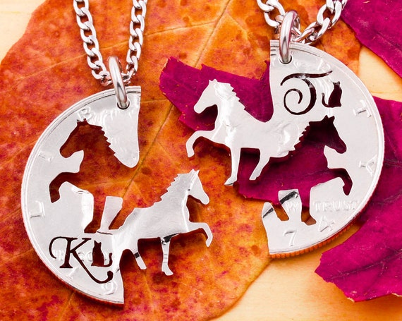 Horse Necklaces, Cats Besides Custom Initials, Best Friends Jewelry, His and Hers, Western Ranch Style Jewelry, Interlocking Hand Cut Coin
