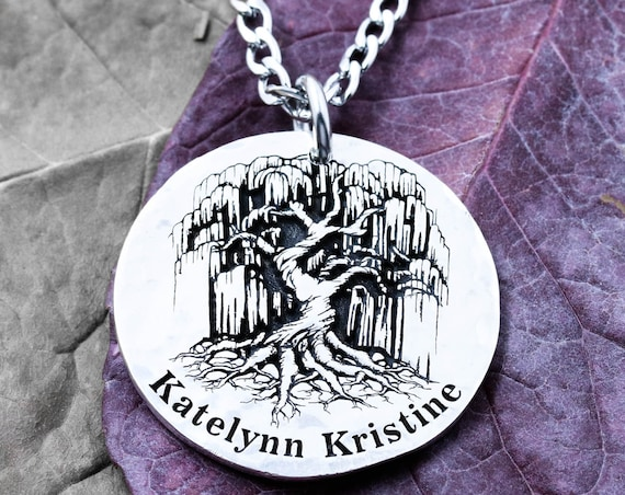 Silver Tree Necklace, Weeping Willow pendant, custom name engraved, Hammered and Engraved Silver or coin.