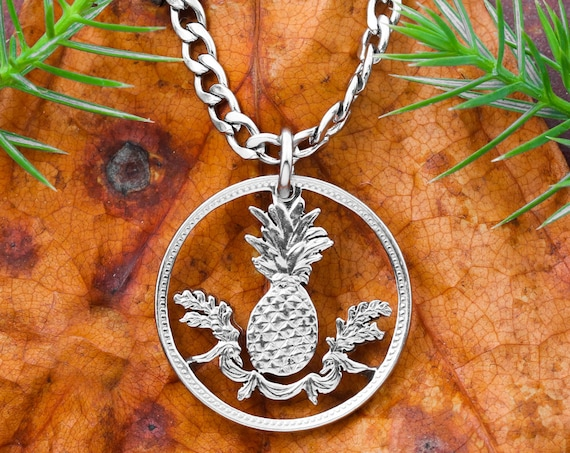 Five Cent Bahamas Pineapple Coin Necklace, Nickel Plated Steel, Limited Quantity Available, Hand Cut Coin