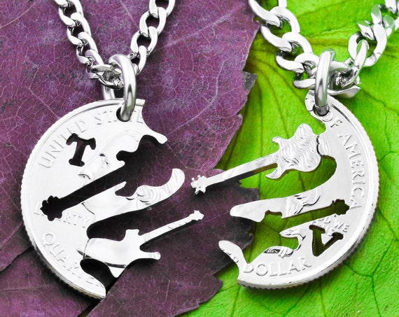 Electric Guitar Necklaces with Custom Cut Initials, BFF Gifts, Musical Couples, Interlocking Hand Cut Coin