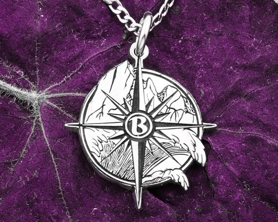 Silver Compass Necklace, Artistic Mountain Scene Engraved into a Silver Coin, Custom Initial in Middle, Etched and Hand Cut Coin