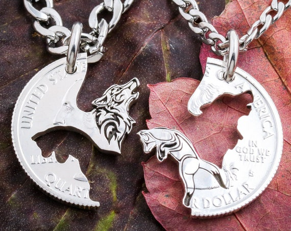 Howling Wolf and Fox Couples Necklaces, Animal Jewelry, Fox and Wolf, Best Friends or Couples Jewelry, BFF Gift, Hand Cut Coin