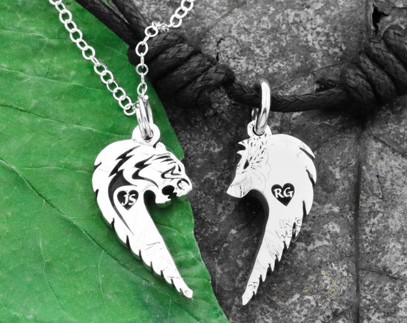 Tiger and Wolf Couples Necklaces, Relationship Jewelry, Custom Initials Engraved in Hearts, Hand Cut Coin