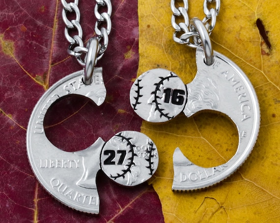 Baseball Couples and Best Friends Necklaces, With Custom Jersey Numbers, Softball Gift, Boyfriend and Girlfriend Jewelry, Hand Cut Coin