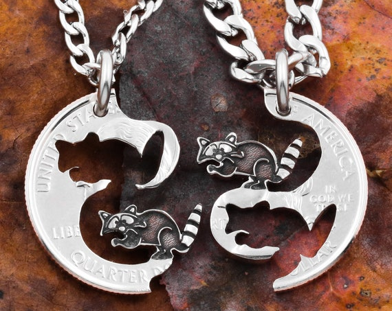 Raccoon Necklaces, Best Friend Jewelry, Bandits for Life, Interlocking Set, Hand Cut and Engraved Coin