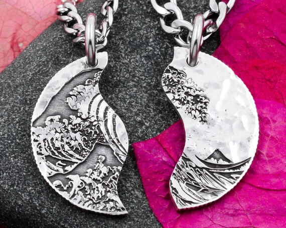 Great Wave Off Kanagawa, Silver Necklace Split in Two, Custom Engraved Initials on Back, Hammered Silver Coin, Hand Cut