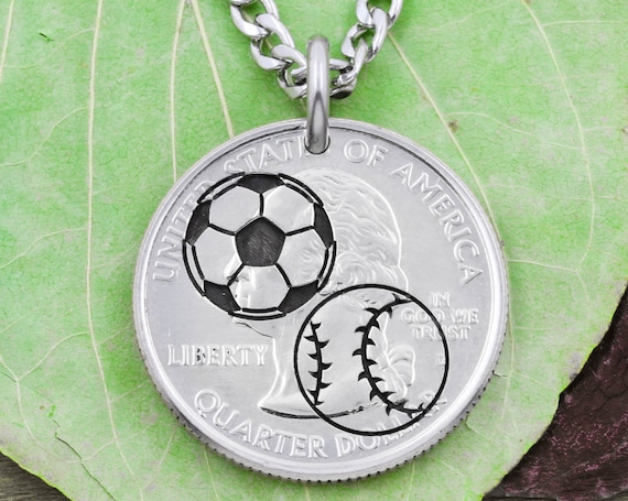 Engraved Soccer and Baseball Necklace, Sports Jewelry For Kids and Athletes, Engraved Coin Gift