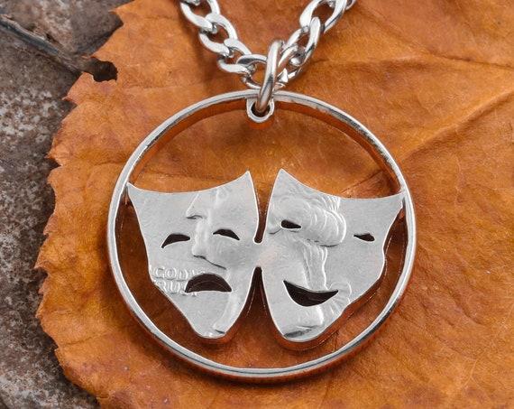 Drama Face Masks, Happy/Sad, Cut From a Quarter, Hand Cut Coin