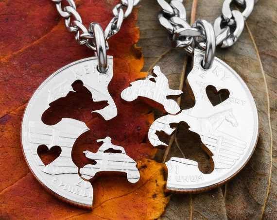 ATV Couples Cut on State Side Quarter, Couples Jewelry, Guys Jewelry, Cut Hearts, Extreme Couples, Interlocking Hand Cut Coin