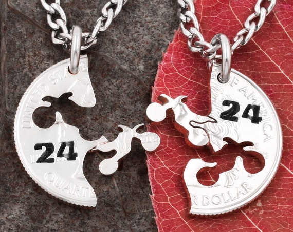 Motorcycle Necklaces with Custom Numbers, Biker Jewelry, Harley Inspired for Couples, Interlocking Relationship Quarter, Hand Cut Coin