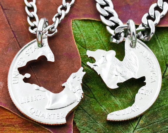 Wolf and Bear Necklace Set, Best Friends and Couples Necklaces Interlocking Hand Cut Coin