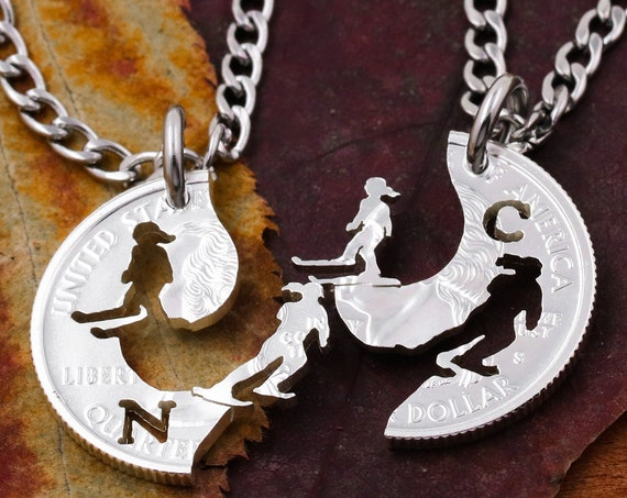 Cross Country Skiers Best Friend Necklaces, Custom Initials, Women's Ski Jewelry, Interlocking Hand Cut Coin