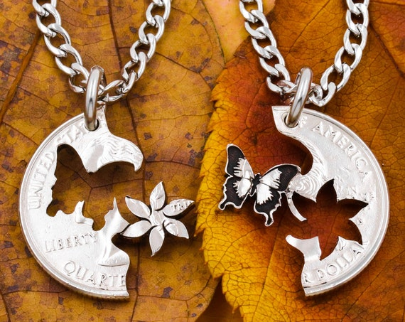 Butterfly and Flower Necklaces, Best Friends Jewelry, SwallowTail, Six-Petal Flower, BFF Gifts for 2, Relationship Puzzle Set, Hand Cut Coin
