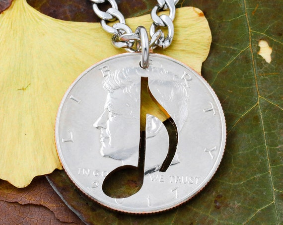 Music Note Coin Necklace, Musicians Music Note, Hand Cut Coin