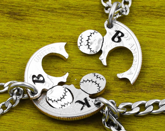 3 Piece Personalized Baseball Necklaces Or Keychains, Custom Initials or Jersey Numbers, Interlocking, Three BFFs Jewelry, Hand Cut Coin