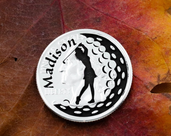 Girl Golfer, Personalized Name Golf Ball Marker, Custom Engraved, Etched Quarter, Unique Daughter Mother Gift, Golfer Accessory