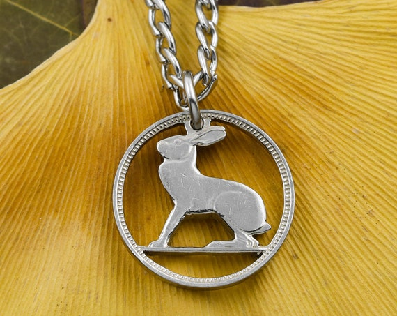 3 Pingin, Half Reul Hare Necklace, Copper-Nickel, Ireland, Animal Jewelry, Limited Quantity Available, Hand Cut Coin