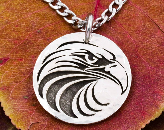 Silver Bald Eagle Necklace, Silver Bird Jewelry, Engraved Hammered Silver Coin