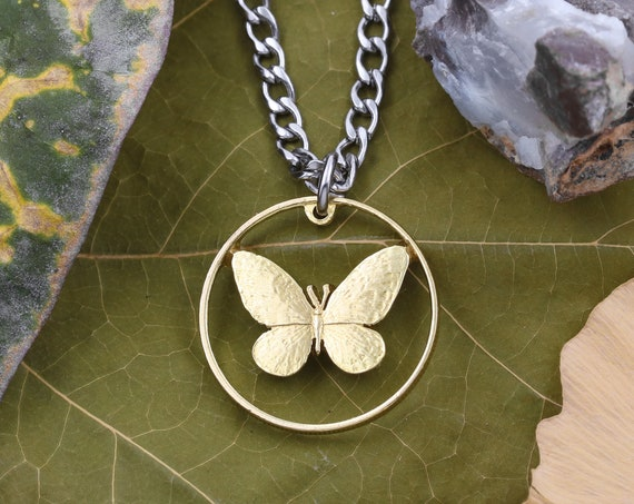 Phillipines Quarter Dollar Butterfly Necklace, 25 Sentimos, Nickel-Plated Steel, Limited Quantity Available, Hand Cut Coin